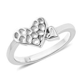 RACHEL GALLEY Rhodium Overlay Sterling Silver Heart Lattice Ring