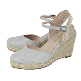 Lotus Silver Shimmer Textile Maira Wedge Shoes