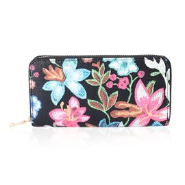 Floral Print Long Wallet Purse (Size 18.5x9.5x2 Cm  Large Phone can fit in)