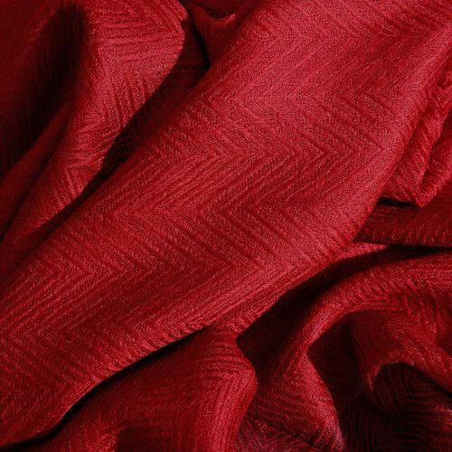 100% Cashmere Wool Fishbone Pattern Burgundy Colour Scarf with Fringes (Size 200x70 Cm)