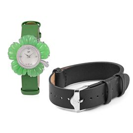 GP Swiss Movement Water Resistant Carved Green Jade and Simulated Diamond Sterling Silver Watch with Extra Black Strap 53.50 Ct, Metal wt 24.00 Gms