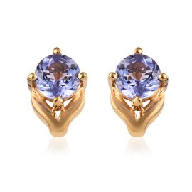 Tanzanite (1.00 Ct) 14K Gold Overlay Sterling Silver Earring  1.000  Ct.