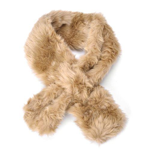 Khaki Colour Faux Fur Scarf (Size 88x10 Cm), Cap (Size 29X18 Cm) and Pom Pom Keychain (Size 10 Cm)