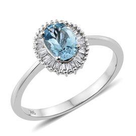 9K White Gold AA Santa Maria Aquamarine (Ovl), Diamond Ring (Size T) 1.000 Ct. Dia Wt 0.25 Cts