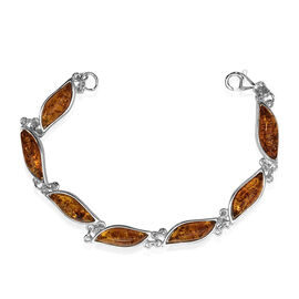 Signature Collection- Baltic Amber Bracelet (Size 7.5) with Lobster Lock in Sterling Silver 14.00 Ct. Silver wt 7.90 Gms.
