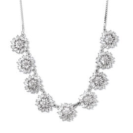 Designer Inspired - Fire Cracker Diamond (Rnd) Adjustable Necklace (Size 18) in Platinum Overlay Ste