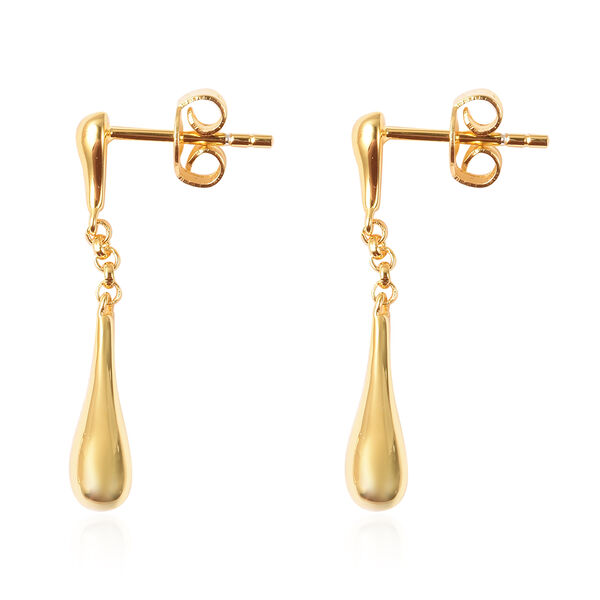 LucyQ Yellow Gold Overlay Sterling Silver Falling Drop Earrings (With Push Back)
