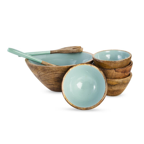Set of 7 Pcs. - Food Serving Set in Mango Wood with Blue Enamel Interior - 1 Large Bowl, 4 Small Bowls, Spoon and Fork