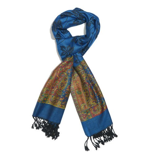 Designer Inspired-Royal Blue, Black, Red and Multi Colour Maple Leaf and Paisley Pattern Scarf with