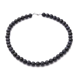 One Time Deal-Dark Blue Sandstone Beads Necklace (Size - 18) in Sterling Silver 285 Ct.