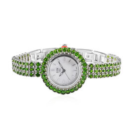 EON 1962 Swiss Movement Russian Diopside (Rnd and Pear) Adjustable Watch (Size 8) in Platinum Overla