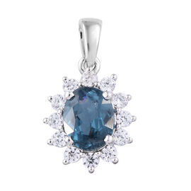 4.71 Ct Indigo Kyanite and Cambodian Zircon Halo Pendant in Rhodium Plated 9K White Gold 1.2 Grams