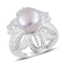 Designer Inspired- AA Freshwater Pearl Flower Ring in Sterling Silver