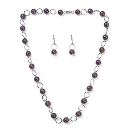 2 Piece Set - Amethyst Necklace and Hook Earrings in Stainless Steel 29.00 Ct.