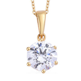 J Francis - 14K Gold Overlay Sterling Silver (Rnd 8 mm) Pendant With Chain (Size 20) Made with SWAROVSKI ZIRCONIA