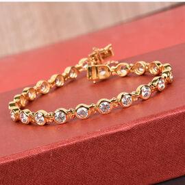 J Francis - 14K Gold Overlay Sterling Silver Bracelet (Size 8) Made with SWAROVSKI ZIRCONIA 13.29 Ct, Silver wt 16.00 Gms