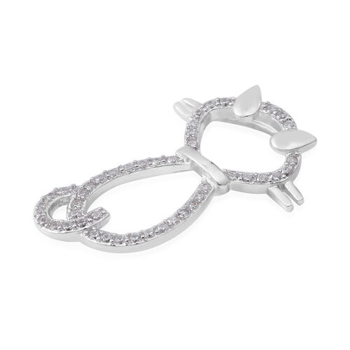 ELANZA Simulated Diamond (Rnd) Cat Pendant in Rhodium Overlay Sterling Silver