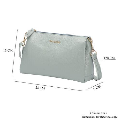 SENCILLEZ 100% Genuine Leather Crossbody Bag with Zipper Closure and Detachable Shoulder Strap (Size 28x9x17cm) - Pastel Green