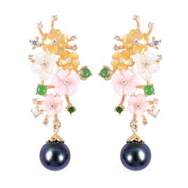 Jardin Collection - Tahitian Pearl, Pink, Yellow and White Mother of Pearl, Green Jade, Russian Diop