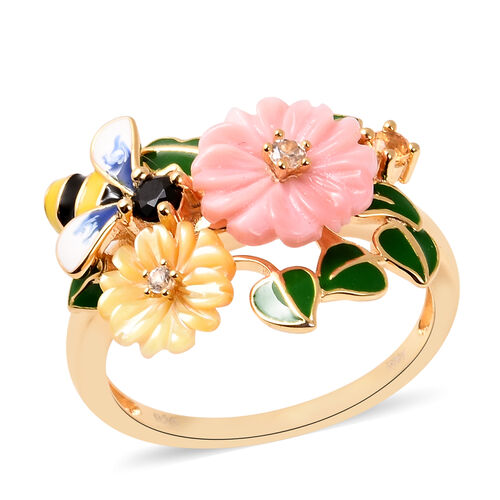 Jardin Collection - Pink Mother of Pearl, Yellow Mother of Pearl and Multi Gemstone Bee Flower Ename