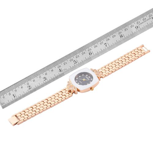 STRADA Japanese Movement White Austrian Crystal Studded Black Dial Water Resistant Watch in Gold Tone with Stainless Steel Back and Chain Strap