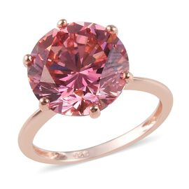J Francis - Rose Gold Overlay Sterling Silver (Rnd) Solitaire Ring Made with Pink SWAROVSKI ZIRCONIA