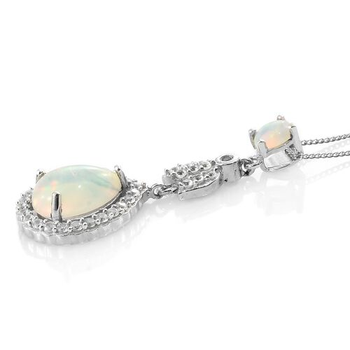 Ethiopian Welo Opal (Pear 1.84 Ct), Natural Cambodian Zircon Pendant with Chain in Platinum Overlay Sterling Silver 2.750 Ct.