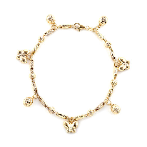Royal Bali Collection Bracelet with Butterfly and Bead Charm in 9K Gold 4.90 Grams 8 Inch