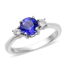 RHAPSODY 950 Platinum AAAA Tanzanite and Diamond (VS/E-F) Ring 1.50 Ct, Platinum wt 5.60 Gms