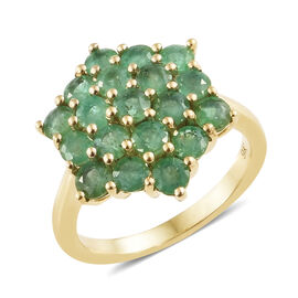 9K Yellow Gold AA Kagem Zambian Emerald (Rnd) Cluster Ring  2.000 Ct.