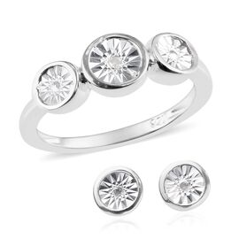 2 Piece Set - Diamond (Rnd) Three Stone Ring and Stud Earrings (with Push Back) in Sterling Silver,