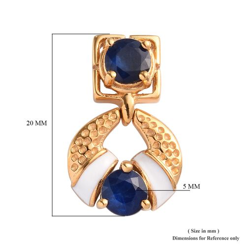 Tanzanian Blue Spinel Enamelled Earrings (with Push Back) in 14K Gold Overlay Sterling Silver 2.25 Ct.