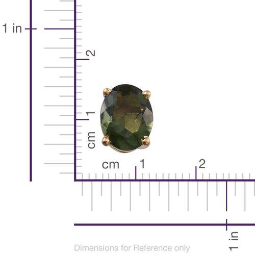 Bohemian Moldavite (Ovl) Stud Earrings (with Push Back) in 14K Gold Overlay Sterling Silver 2.750 Ct.
