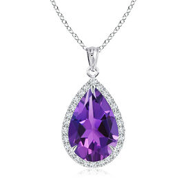New York Close Out - Amethyst (Pear), Simulated Diamond Pendant with Chain (Size 18) in Rhodium Over