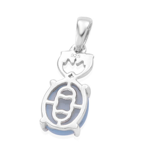 2 Carat Peruvian Blue Opal Dolphins Drop Pendant in Platinum Plated Sterling Silver
