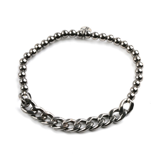 JCK Vegas Collection Black Rhodium Plated Sterling Silver Stretchable Curb Bracelet (Size 7), Silver wt 4.80 Gms.