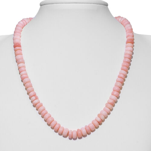Peruvian Pink Opal (Rnd 8mm) Beads Necklace (Size 18) with Magnetic Lock in Rhodium Overlay Sterling Silver 200.000 Ct.
