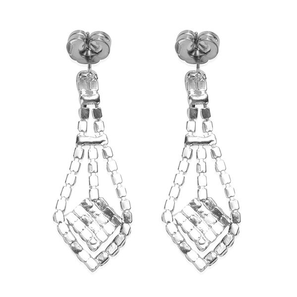 2 Piece Set White Austrian Crystal Earrings (with Push Back) and Necklace (Size 22 with 2 Inch Extender) in Silver Tone - Waterfall