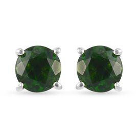 Russian Diopside Solitaire Stud Push Post Earring in Platinum Overlay Sterling Silver 1.05 ct  1.050