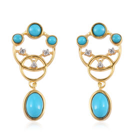 AA Arizona Sleeping Beauty Turquoise and Natural Cambodian Zircon Earrings (with Push Back) in 14K G
