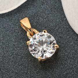 J Francis - 14K Gold Overlay Sterling Silver Pendant Made with SWAROVSKI ZIRCONIA 1.820 Ct.