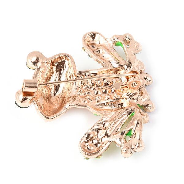 Multi Colour Austrian Crystal Enamelled Frog Brooch in Gold Tone