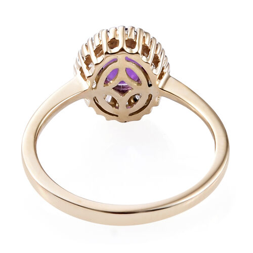 9K Yellow Gold AAA Lusaka Amethyst (Ovl 0.750 Ct) Diamond Ring 1.000  Ct.