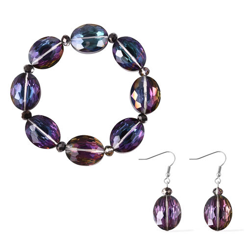 2 Piece Set - Simulated Mercury Mystic Topaz Beads Hook Earrings and Stretchable Bracelet (Size 7)