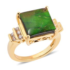 AA Canadian Ammolite (Sqr 12mm), Natural White Cambodian Zircon Ring in Vermeil Yellow Gold Overlay