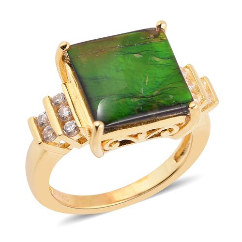 AA Canadian Ammolite (Sqr 12mm), Natural White Cambodian Zircon Ring in Vermeil Yellow Gold Overlay Sterling Silver.