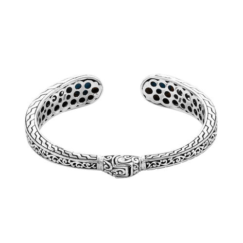 Royal Bali Collection - Arizona Sleeping Beauty Turquoise Filigree Cuff Bangle (Size 7) in Sterling Silver 4.73 ct, Silver wt 30.00 Gms