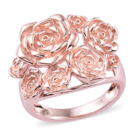 Rose Gold Overlay Sterling Silver Floral Ring, Silver wt 8.58 Gms.