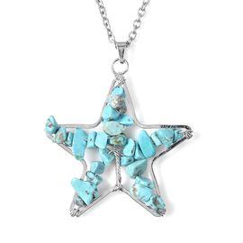 Blue Howlite Star Pendant with Chain (Size 24) in Stainless Steel 20.00 Ct.