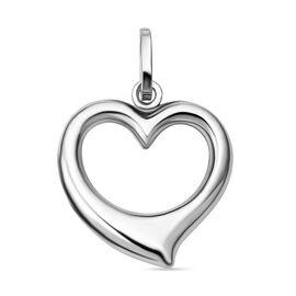 9K White Gold Open Heart Shape Pendant.